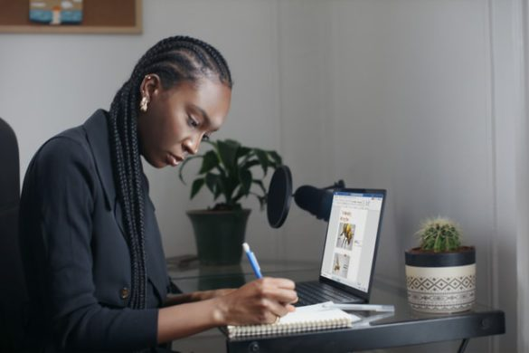 woman working on a desk
